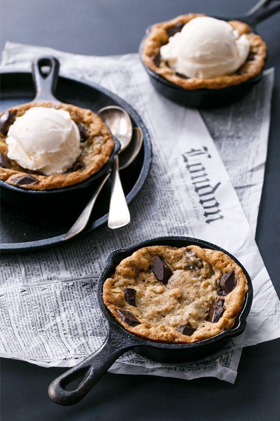 Mini Oatmeal Chocolate Chunk Skillet Cookies served a la mode with vanilla ice cream