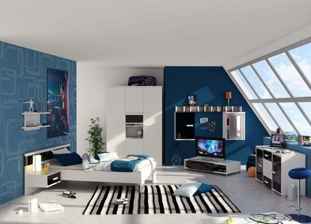 chambre ado en bleu et blanc