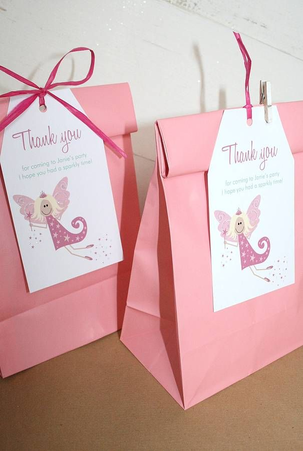 girl's party bags and personalised tags by little fish events | notonthehighstreet.com
