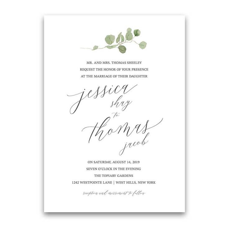 Calligraphy Wedding Invitations Greenery Eucalyptus Garland  Set on a white background, this calligraphy wedding invitation boasts a collection of eucalyptus in hand painted watercolor. The design combines eucalyptus leaves in a beautiful garland.