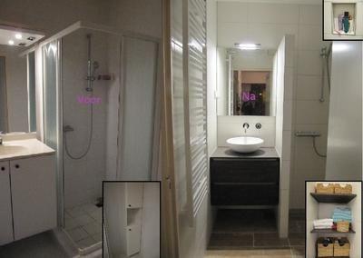 Badkamer van 170 x 160 cm, voor en na de verbouwing. Het is een grote inloopdouche geworden, met een wastafelhoek en een hoek met planken. Deze beginnen zo hoog, dat er een wasmand en prullenbak onder past.