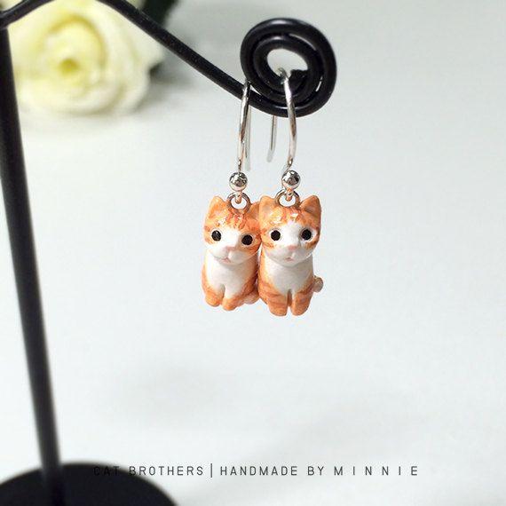 Orange Cat Earrings Dangle & Drop Earrings polymer by CatBrothers