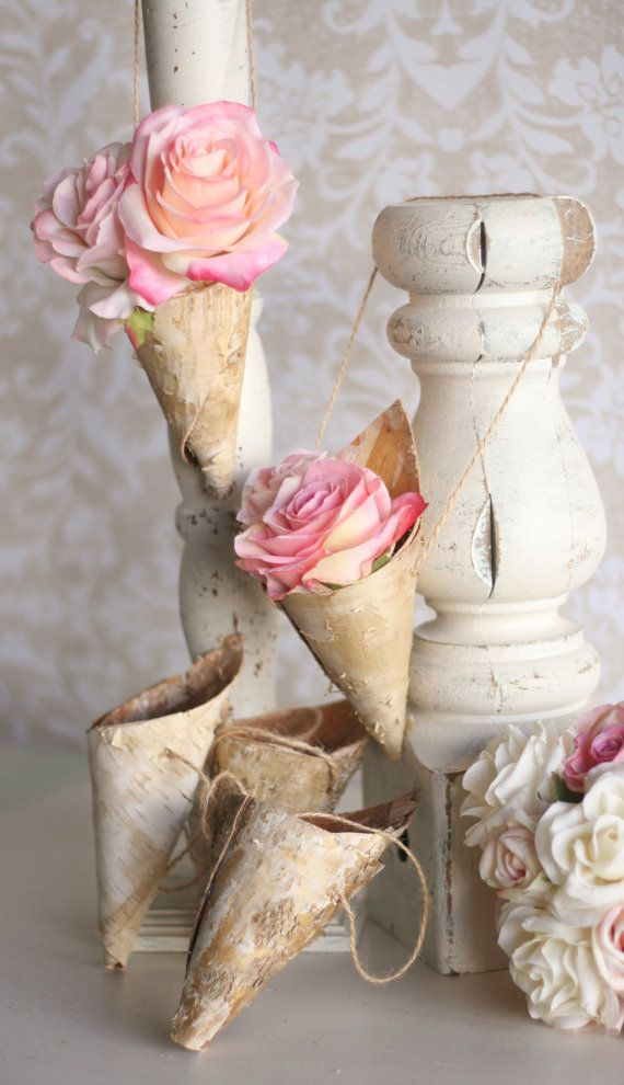 SET OF 6 Mini Rustic Birch Bark Flower Holder Cones Decor For Aisle, Chair, Pew or Flower Girl Basket Fall Autumn Winter Wedding Chic unique -$90.00