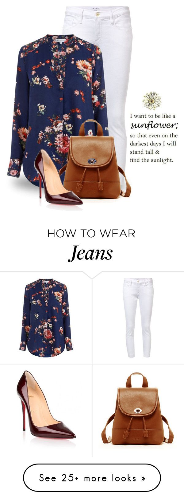 """""""Style a Floral Top 2635"""" by boxthoughts on Polyvore featuring Frame, Warehouse, SUSU and Christian Louboutin"""