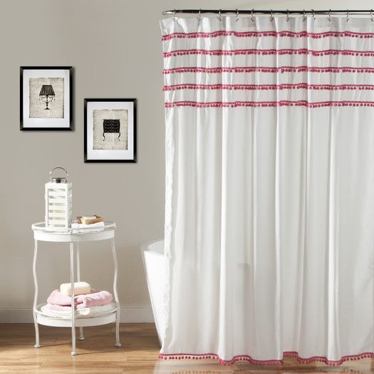 Lush Decor Aria Pom Shower Curtain 72 X Inches Pink See This Great Product
