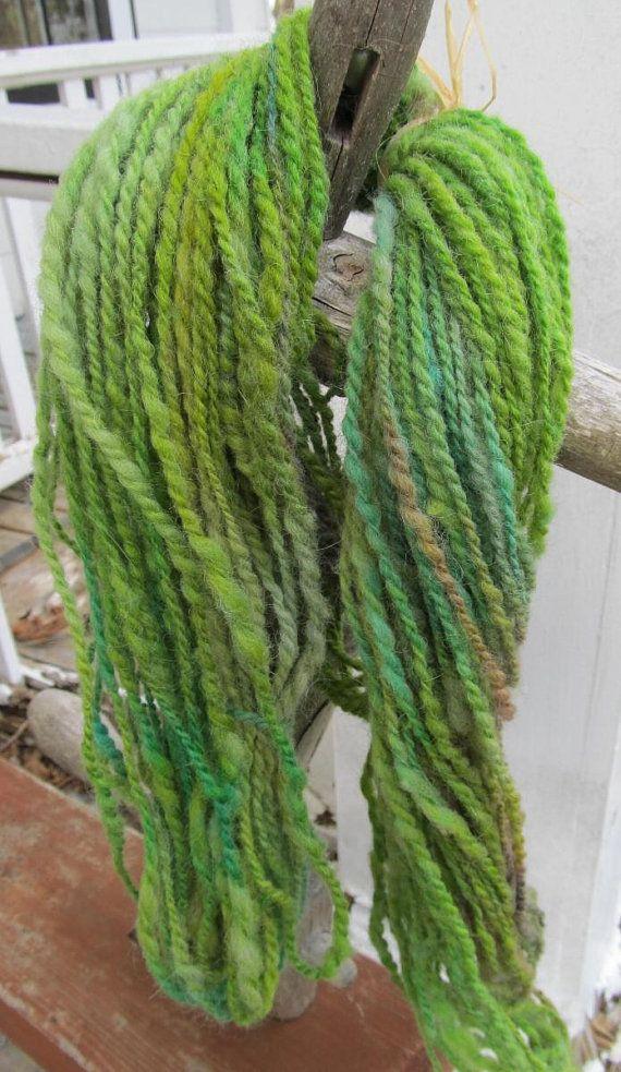 Alpaca & Lambswool Spring Greens 2 Ply  Handspun by Crystalheart, $11.50