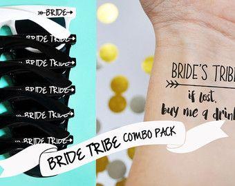 10 aangepaste bruid stam zonnebril & 10 bruid stam tijdelijke tatouages Combo Pack