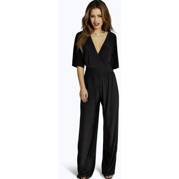 Boohoo Petite Elle Wrap Front Wide Leg Jumpsuit ($36) ❤ liked on Polyvore featuring jumpsuits, black, jump suit, wrap front jumpsuit, petite jumpsuit, wide leg jumpsuits and boohoo jumpsuits