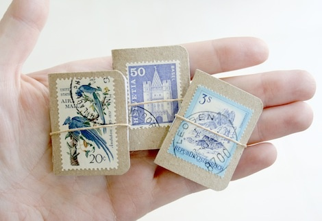 mini books for collecting (in this case, stamps)