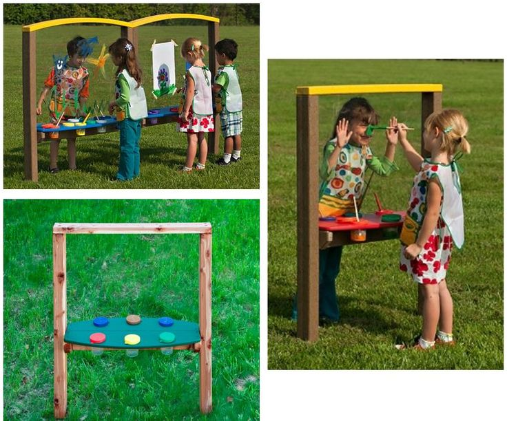 this economical outdoor art easel provides painting surfaces and paint cup holders for two or more - Preschool Painting Games