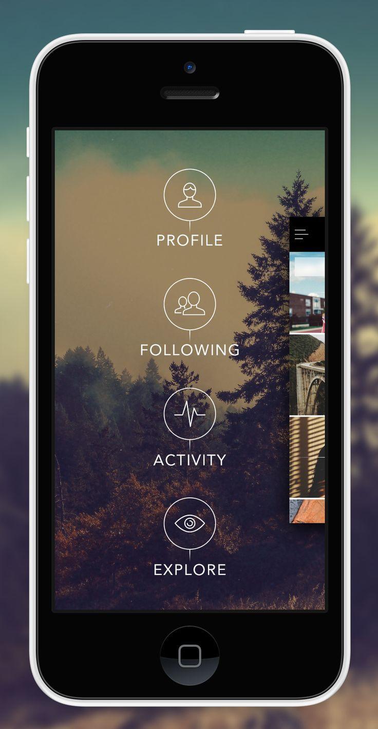 #OneShot #FlatDesign side menu by Eric Hoffman.