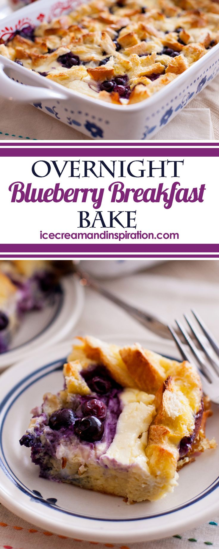 This Overnight Blueberry Breakfast Bake with Maple Cream Syrup is a wonderful low-sugar breakfast! Full of protein and flavor, it's the perfect breakfast for any occasion! Breakfast casserole, overnight breakfast