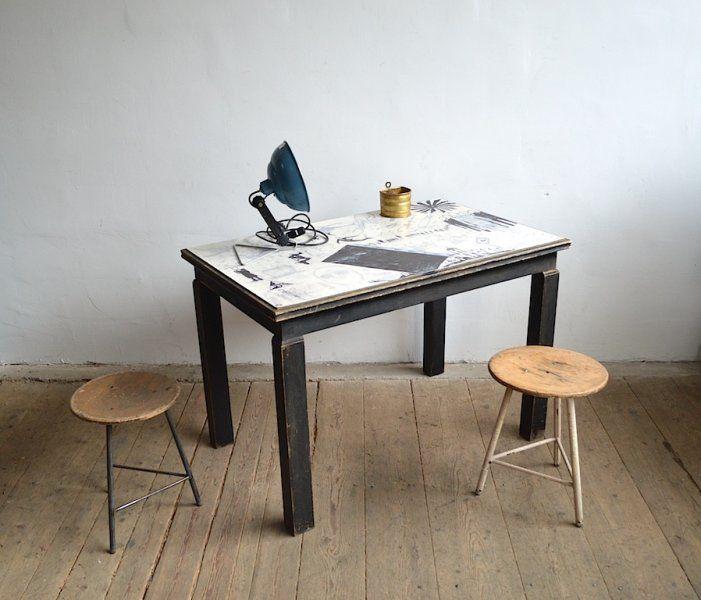 Wooden table in street art style  artKRAFT interior&design
