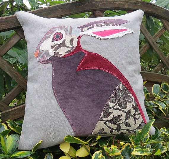 Hare Cushion - Free Motion Embroidery and Applique - Textile Art - Decorative Pillow - Animal Art