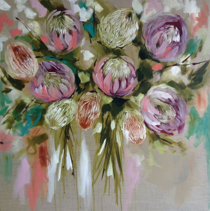 Blush protea , Amanda Brooks artist www.artbybrooks.com.au In love with this colour palette .......would look great with my fresh paint