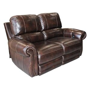 Thurston Havana Leather Power Reclining Loveseat in Dark Brown | Nebraska Furniture Mart