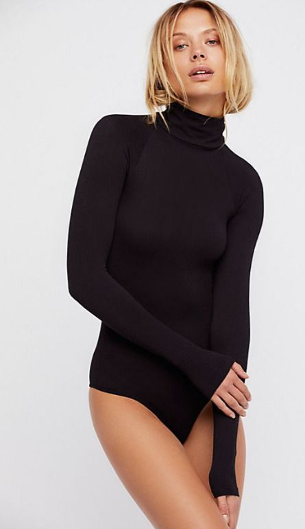 0181f4af3859 Details about NEW Free People Intimately Seamless Turtleneck Bodysuit in  Black XS/S-M/L $61.98