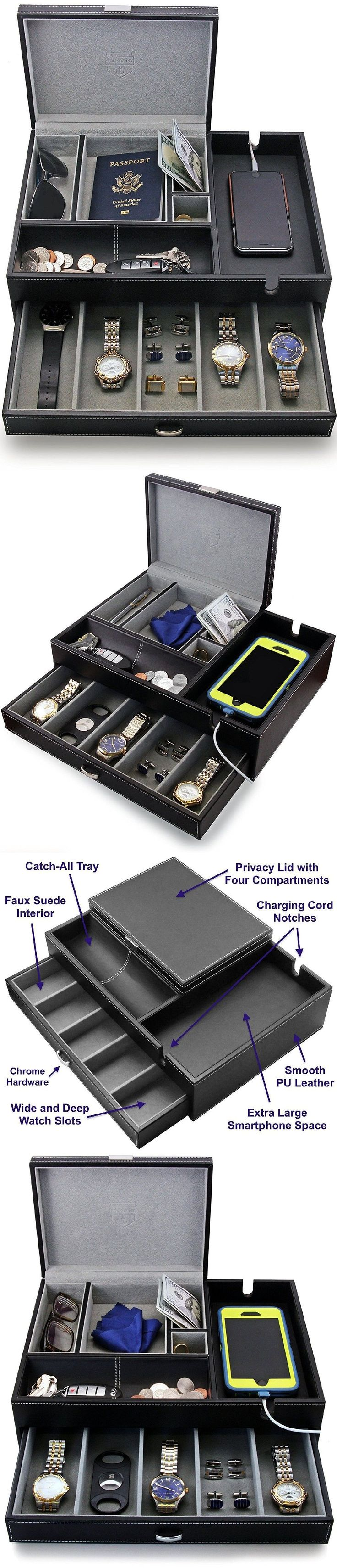 Watch 168164: Men Watch Box Large Jewelry Drawer Organize Display Store Cufflink Phone Dresser -> BUY IT NOW ONLY: $83.98 on eBay!