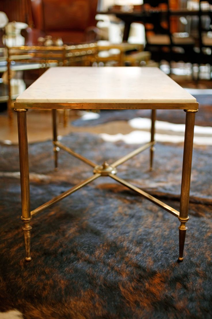 French Marble Top Brass Coffee Table