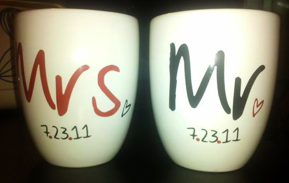 cute wedding or anniversary gift: Mugs Sets, Anniversaries Cars, Crafts Ideas, Accessories Cars, Romantic Wedding, Gifts Ideas, Anniversaries Gifts, Wedding Photo, Coffee Mugs