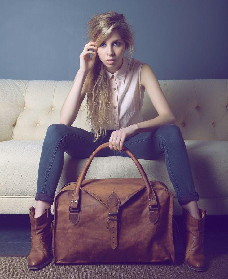 The Vagabond Medium: vintage style brown cow leather holdall