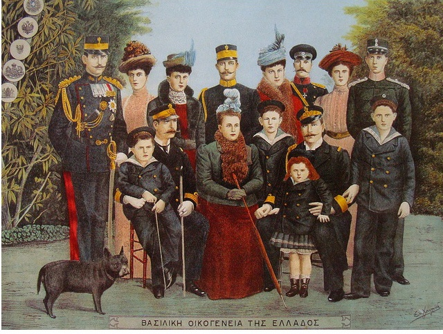 The Royal Family of Greece.  Illustrator Sotirios Christidis