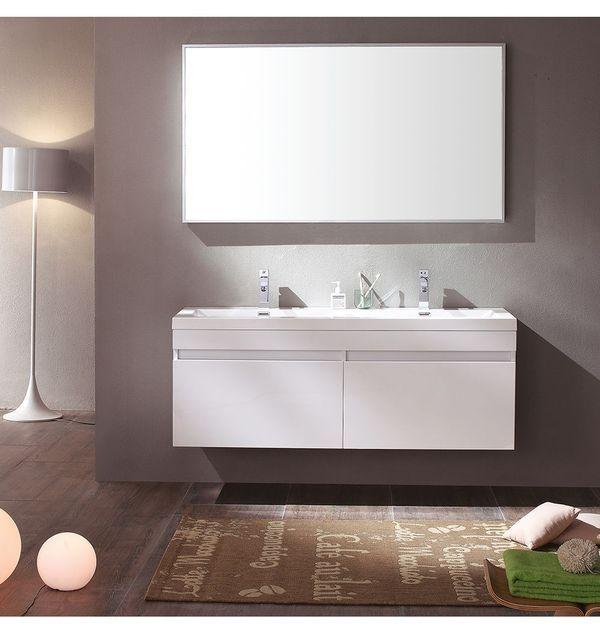 Fresca Largo 57 In White Modern Bathroom Vanity With Wavy Double