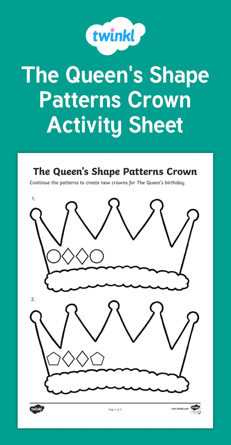 A great activity for students to practise their shape drawing skills while continuing patterns. Children will recognise and draw regular 2D shapes while creating a crown for the Queen.
