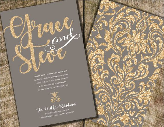 Gold And Gray Wedding Invitation Gray And Coral By Joyinvitations