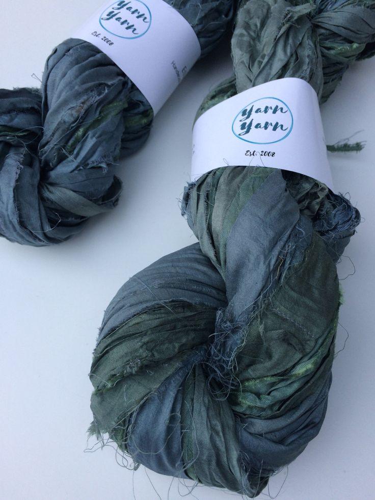 Sari silk ribbon, pewter grey. 300g, Ribbon yarn, sari bracelet making, knit, crochet weave. Ethical yarn. by Yarnyarnyarns on Etsy