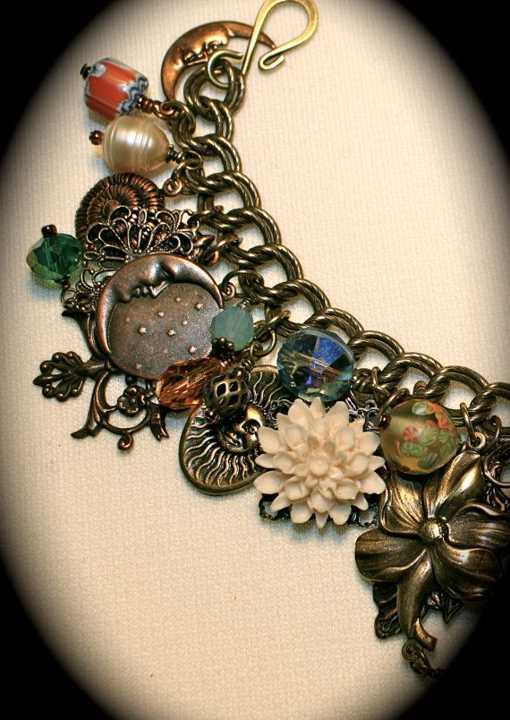 Vintage Charm bracelet - Stars, sun, moon, and clusters of beads, crystals & charms.