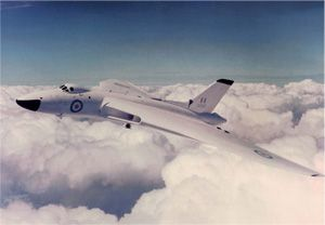 "This is Avro Vulcan XH558 on 1stJuly 1960, painted in ""anti-flash"" white, during her delivery flight from the factory at Woodford, near Manchester, to RAF Waddington near Lincoln. XH558 was the first Vulcan B.Mk2 to be delivered to the RAF, and she is now the oldest complete Vulcan in the world."