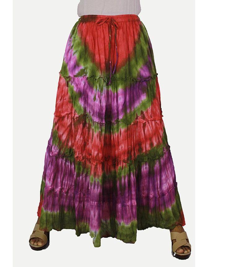 Siam2u Women's Tie Dye Cotton Hippie Gypsy Long Smock Skirt. 100%cotton, handmade skirt,Women's Clothing, Clothing, women skirt, Skirts,. Adjustable size,maternity skirt, long skirt, hippie skirt, gypsy skirt,. elastic waist,summer skirt,long skirt,handmade skirt, unique skirt,.