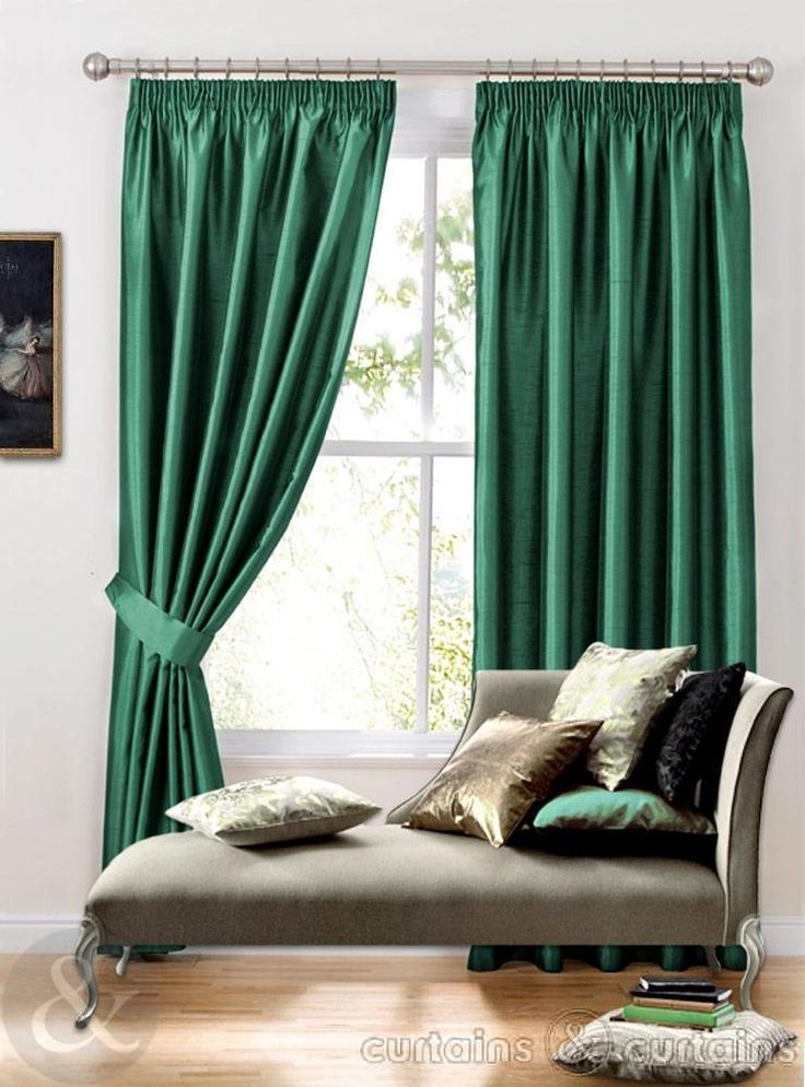 Teal Green Faux Silk Pencil Pleat Curtains Lined UK.  I like the composition in space of these design elements.