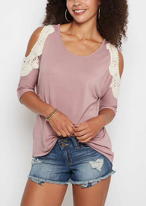 Dusty Rose Crochet Cold Shoulder Dolman Top | rue21
