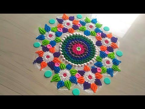 How to make Innovative beautiful rangoli design - YouTube