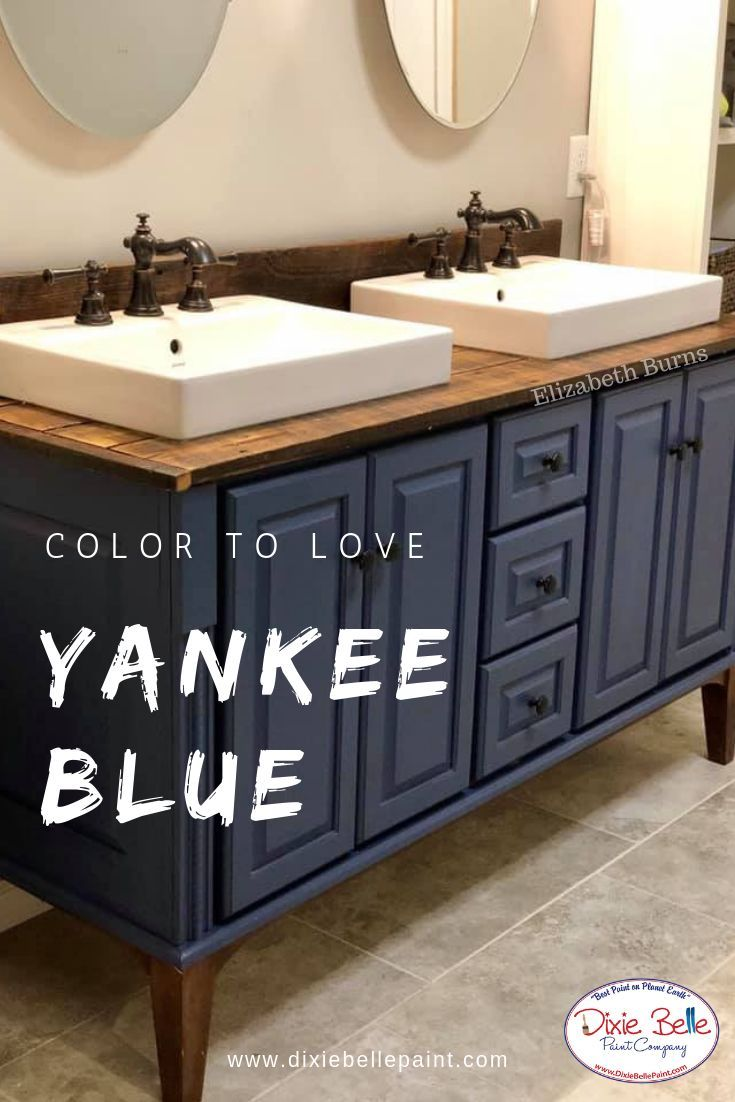 Pin By Heather Marshall On Bathroom Ideas In 2020 Blue Painted Furniture Painted Vanity Bathroom Chalk Paint Kitchen