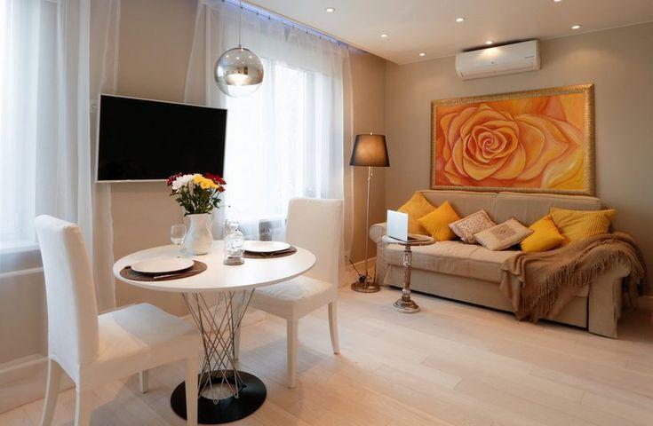 Hogyan rendezz be egy másfél szobás kis lakást hangulatos bézs árnyalatokkal, otthonosan - 40m2-es példa
