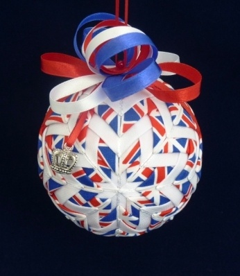 Jubilee Ornament in Red, White and Blue Ribbon and Fabric by Paulines Crafts