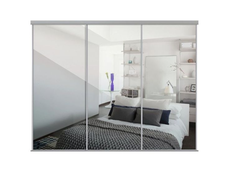 Sliding Wardrobe Door Kit W2692mm Silver Frame Mirror