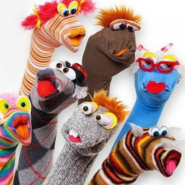 Make Puppets to match the 'Sock Puppet' app for story writing centre.