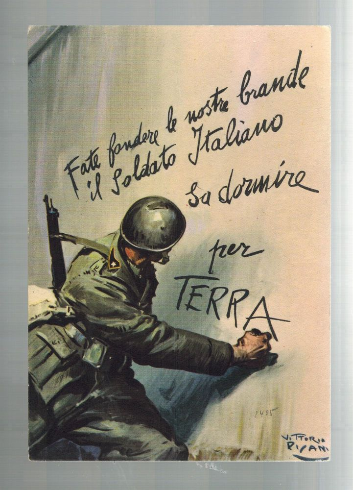Mint Italy  Propaganda Army postcard Soldier Drawing Slogan on Wall PAtriotic