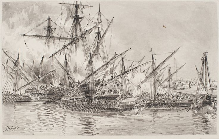 Nils Ehrensköld battle of Gangut July 27, 1714. Shot barge HMS Elefanten is surrounded by Russian galleys by Jacob Hägg