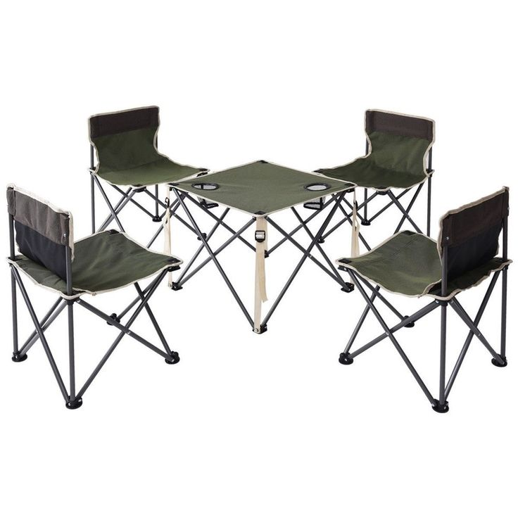 Folding Camping Table Chairs Portable Picnic Foldable Seats Outdoor Carrying Bag #Unbranded