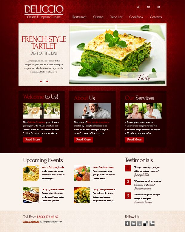 Free Website Template for Restaurant Business