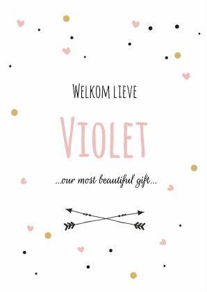 Hip en trendy geboortekaartje voor een meisje met roze, zwarte en okergele hartjes en stipjes. Verkrijgbaar bij #kaartje2go voor € 1,89