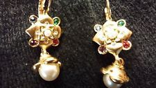 Vintage Smithsonian pierced earrings with colored rhinestones and faux pearl