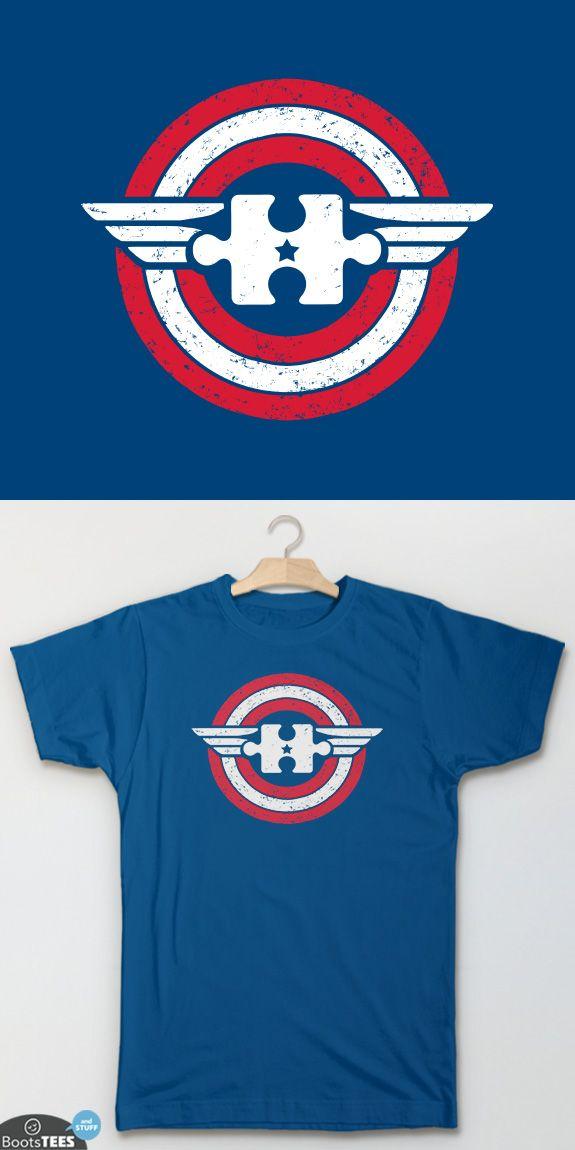 """Captain Autism"" Captain America Autism T-Shirt for Autism Awareness Month | Graphic Tee with Superhero design. Men's Women's and Kid's T-Shirt."