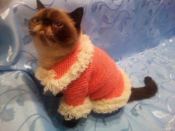 Extra caliente suéter de gato rosa, hecho a mano, ropa, pequeño perro suéter, ropa de perro, de un Sphynx de gato