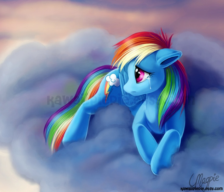look at that hair! Art Print - My Little Pony - Rainbow Sad - 8 x 10 Inches
